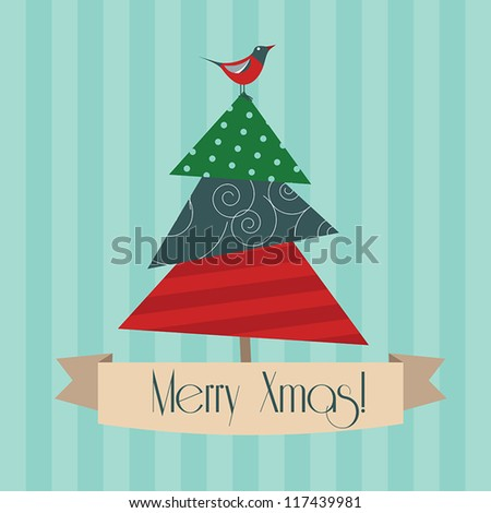 Vintage square christmas postcard with christmas tree on striped background