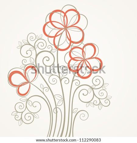 vintage square flower card