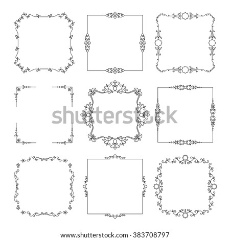 Vintage square frames set isolated on white.