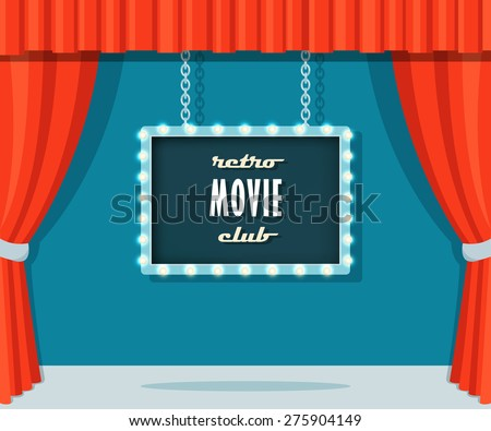 vintage stage with red curtains
