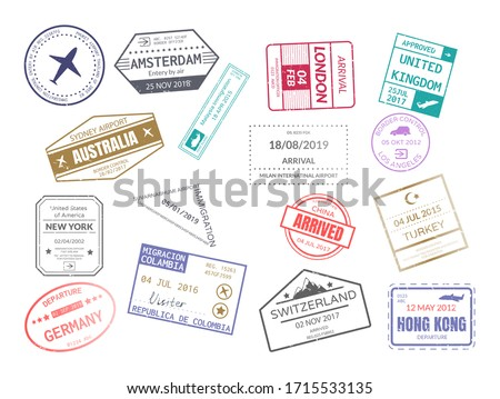 Vintage stamp in passport for traveling an open passport. International arrival departure airplane visa stamps set london, amsterdam, australia, malaysia, turkey, new york, germany, china vector