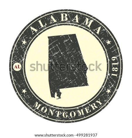 Vintage stamp with map of Alabama. Stylized badge with the name of the State, year of creation, the contour maps and the names abbreviations . Vector illustration