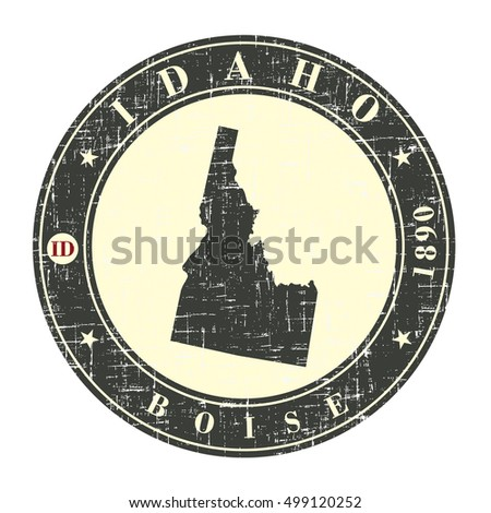Vintage stamp with map of Idaho. Stylized badge with the name of the State, year of creation, the contour maps and the names abbreviations . Vector illustration