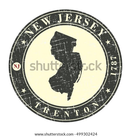 Vintage stamp with map of  New Jersey. Stylized badge with the name of the State, year of creation, the contour maps and the names abbreviations . Vector illustration