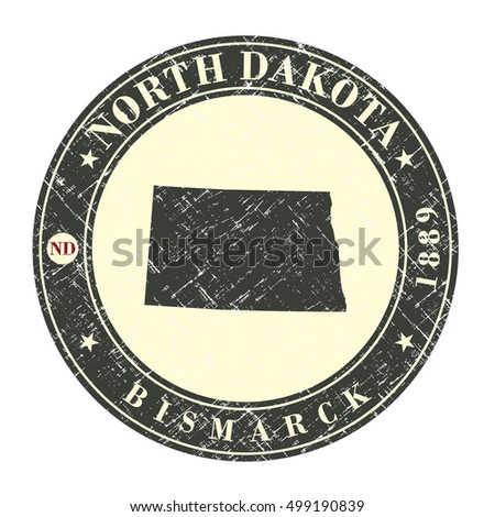 Vintage stamp with map of North Dakota. Stylized badge with the name of the State, year of creation, the contour maps and the names abbreviations . Vector illustration