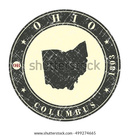 vintage stamp with map of ohio. ...