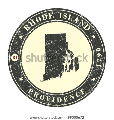Vintage stamp with map of  Rhode Island. Stylized badge with the name of the State, year of creation, the contour maps and the names abbreviations . Vector illustration