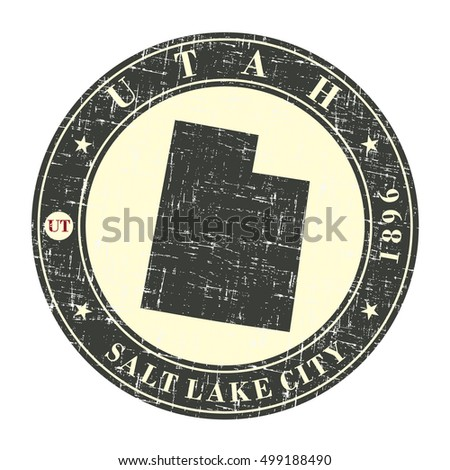 Vintage stamp with map of Utah. Stylized badge with the name of the State, year of creation, the contour maps and the names abbreviations . Vector illustration