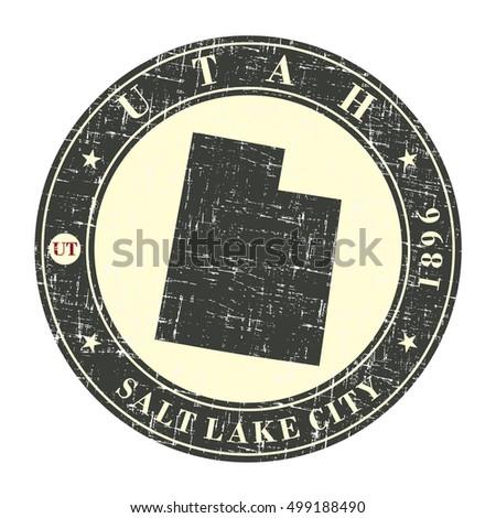 vintage stamp with map of utah. ...