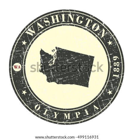 Vintage stamp with map of Washington. Stylized badge with the name of the State, year of creation, the contour maps and the names abbreviations . Vector illustration