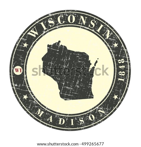 Vintage stamp with map of Wisconsin. Stylized badge with the name of the State, year of creation, the contour maps and the names abbreviations . Vector illustration