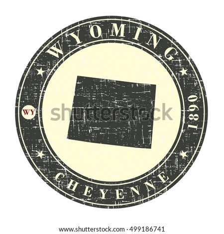 Vintage stamp with map of Wyoming. Stylized badge with the name of the State, year of creation, the contour maps and the names abbreviations . Vector illustration
