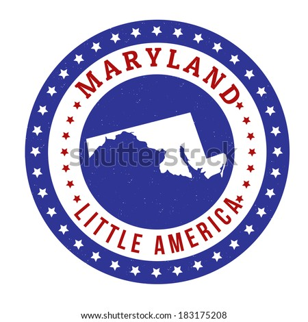Vintage stamp with text Little America written inside and map of Maryland, vector illustration