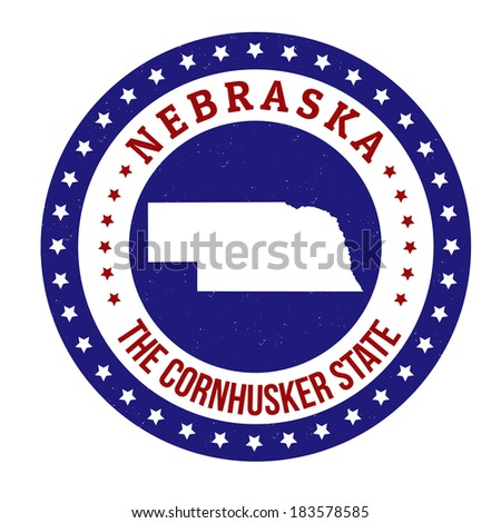Vintage stamp with text The Cornhusker State written inside and map of Nebraska, vector illustration