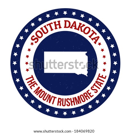 Vintage stamp with text The Mount Rushmore State written inside and map of South Dakota, vector illustration