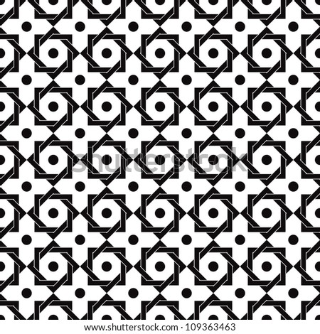 Vintage star shaped tiles seamless pattern, monochrome vector background.