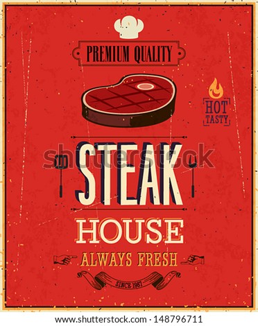 Vintage Steak House Poster Vector illustration