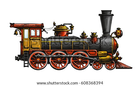 Vintage steam locomotive. Drawn ancient train, transport. Vector illustration
