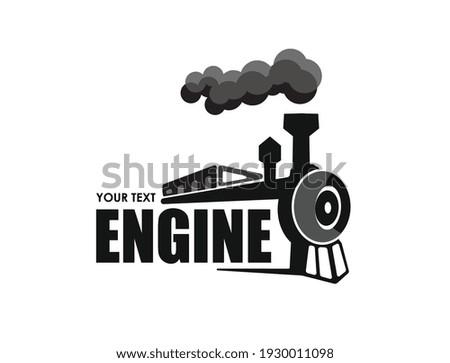 Vintage steam locomotive graphic silhouette. Vector illustration.  Photo stock ©