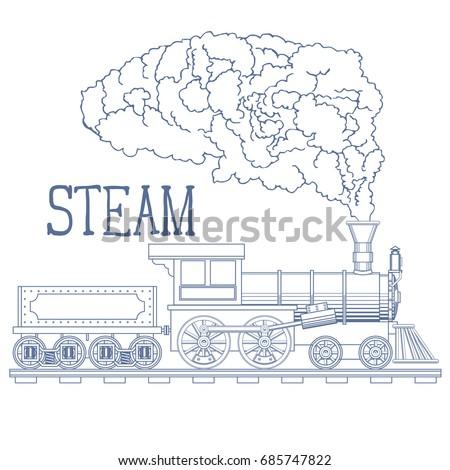 Vintage Steam Train Engrave Illustration. Vector illustration