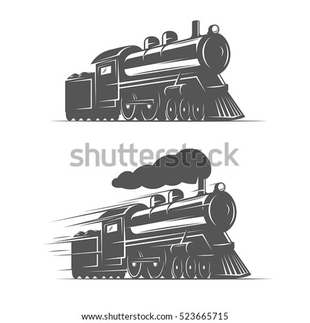 vintage steam train isolated on