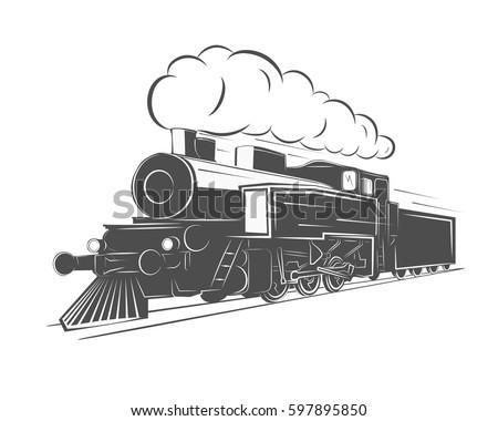 vintage steam train isolated on