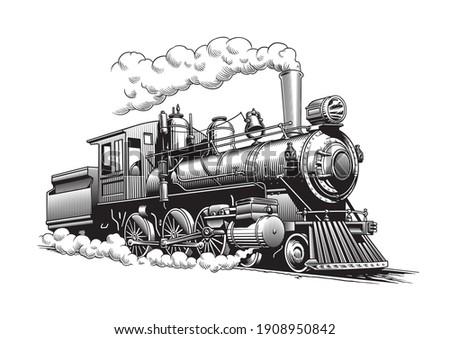 Vintage steam train locomotive, engraving style vector illustration Photo stock ©