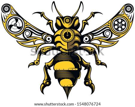 vintage  steampunk style bee