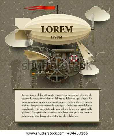 Vintage Steampunk template with a complex fantastic flying ship. Web page design in retro and grunge style. Vector Illustration
