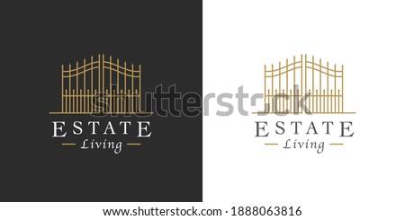 Vintage steel gate line icon. Upmarket lifestyle security estate symbol. Luxury real estate logo. Classic wrought iron property entrance sign. Vector illustration.