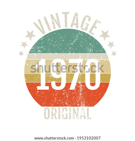 vintage 1970 stickers, t-shirt, greeting cards, made in 1970, 70s birth year  Stockfoto ©