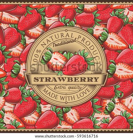 vintage strawberry label on...