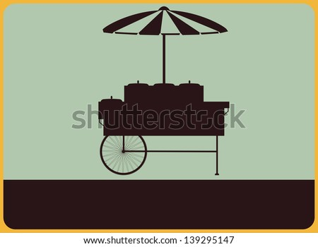 Vintage street sign with the silhouette of the vendor's cart.