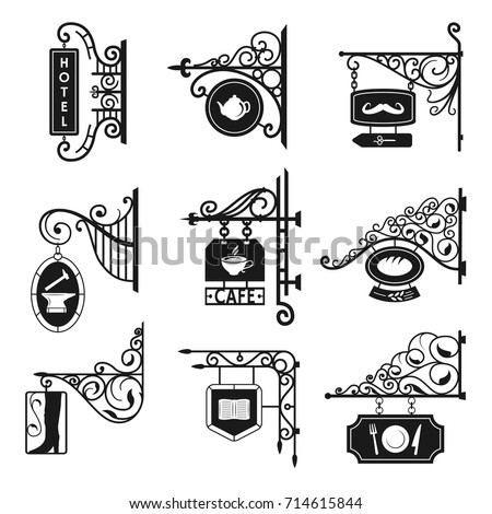 Vintage street signboards. Old road and shops advertising signs, black metal city frame. Vector line art illustration isolated on white background