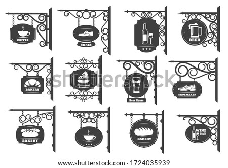Vintage street signboards vector design. Iron shop sign boards hanging on wrought metal brackets and chains with antique forged ornaments, restaurant, store and cafe, pub or bar and bakery signages Stockfoto ©