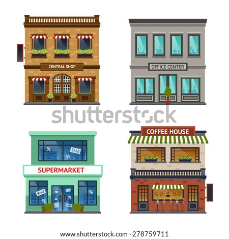 Vintage street view with office center shop coffee house and supermarket icons set abstract isolated  vector illustration