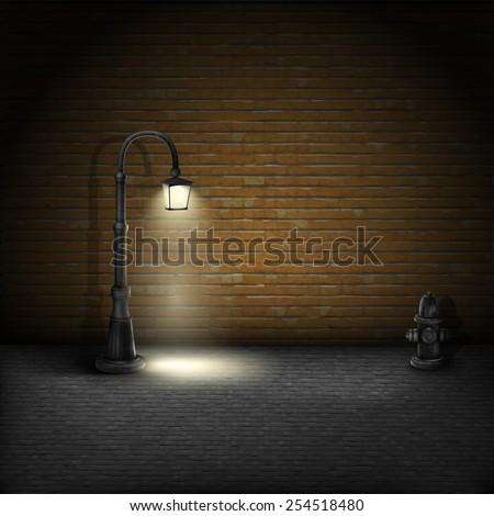 vintage streetlamp on brick