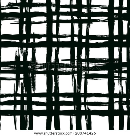 Vintage striped seamless pattern with crossing brushed lines in black and white. Vector hand drawn plaid texture.