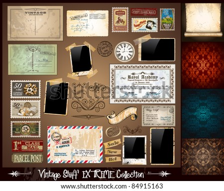Vintage Stuff Extreme Collection - 3 seamless wallpaper, a parchment, photoframes, adhesive straps, vintage labels, postcards, Ribbon, postage stamps and so on