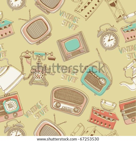 vintage stuff. seamless pattern - stock vector
