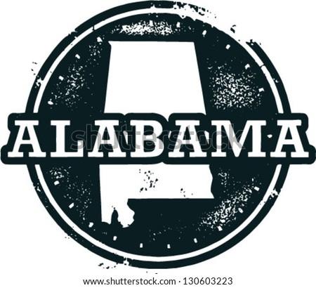 Vintage Style Alabama USA State Stamp