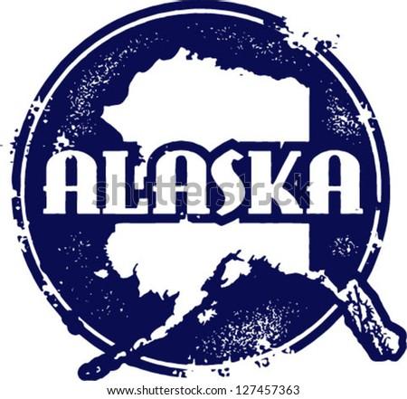 vintage style alaska usa state...
