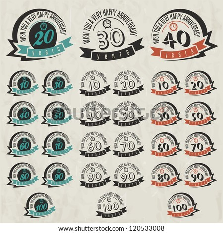Vintage style anniversary sign collection. Anniversary cards design in retro style.