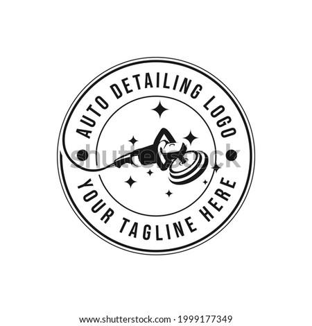 Vintage style auto polish detailing logo design template. Auto detailing polish car machine logo design vector. Auto detailing polisher car cleaning service Stock photo ©