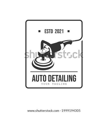 Vintage style auto polish detailing logo design template. Auto detailing polish car machine logo design vector. Auto detailing polisher car cleaning service