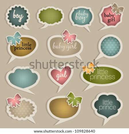 Vintage Style Baby Vector Labels. Graphic Design Editable For Your Design.