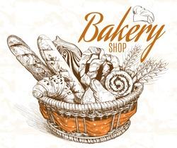Vintage style bakery basket. Vector illustration