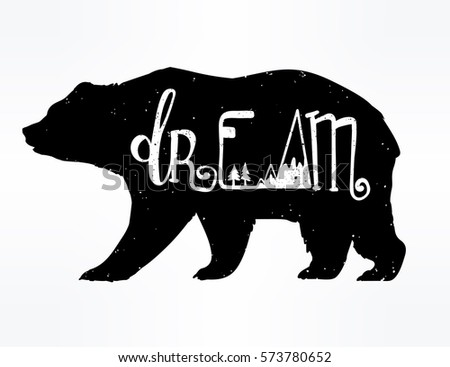 vintage style bear with slogan