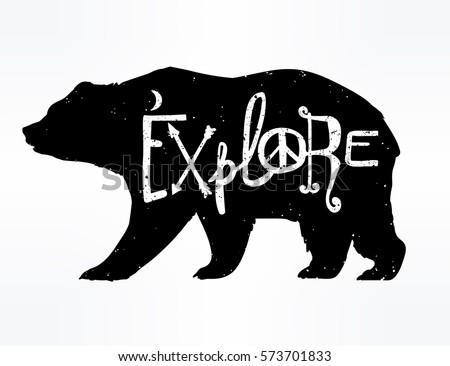 vintage style bear with slogan