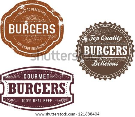 Vintage Style Burger Menu Stamps